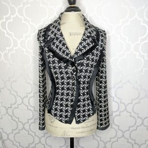 St John Knit Houndstooth Fitted WoolJacket